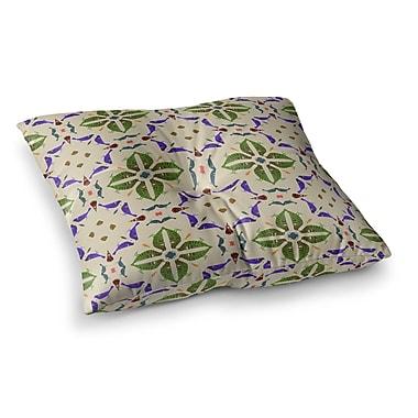 East Urban Home Laura Nicholson Kissing Budgies Geometric Square Floor Pillow; 26'' x 26''