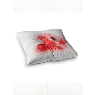 East Urban Home Louise Poppy Floral Square Floor Pillow; 23'' x 23''