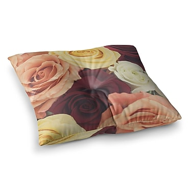 East Urban Home Libertad Leal Vintage Roses Square Floor Pillow; 26'' x 26''