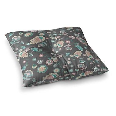 East Urban Home Nika Martinez Cute Winter Floral Square Floor Pillow; 26'' x 26''
