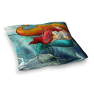 East Urban Home Mandie Manzano I Remember Love Mermaid Square Floor Pillow; 23'' x 23''