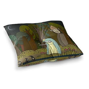 East Urban Home Petit Griffin Enchanted Forest Square Floor Pillow; 26'' x 26''