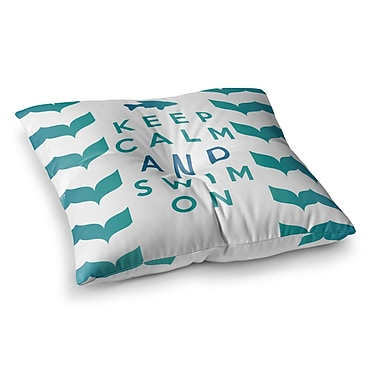 East Urban Home Nick Atkinson Keep Calm and Swim on Square Floor Pillow; 26'' x 26''