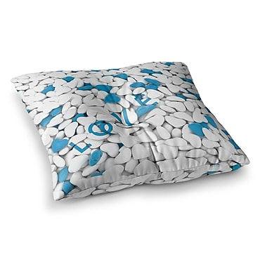 East Urban Home Nick Atkinson Hearts Love Square Floor Pillow; 26'' x 26''