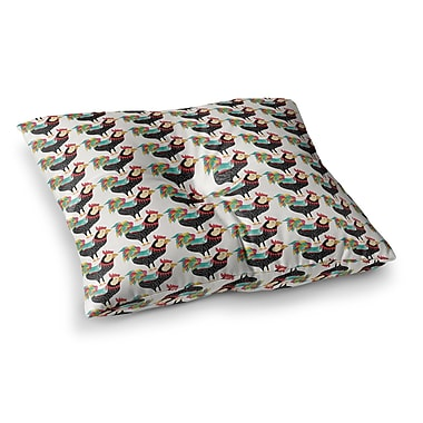 East Urban Home Pom Graphic Design the Rooster Squad Pattern Square Floor Pillow; 26'' x 26''