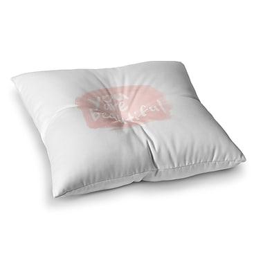 East Urban Home Qing Ji Brush Lettering Beautiful Peach Square Floor Pillow; 23'' x 23''