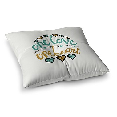 East Urban Home Pom Graphic Design One Love One Heart Typography Illustration Square Floor Pillow