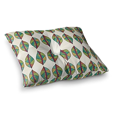 East Urban Home Pom Graphic Design Tribal Leaves Square Floor Pillow; 23'' x 23''