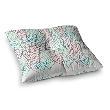 East Urban Home Pom Graphic Design Ethnic Leaves Square Floor Pillow; 26'' x 26''