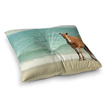 East Urban Home Robin Dickinson Wild Mustang of Carova Horse Ocean Square Floor Pillow; 26'' x 26''