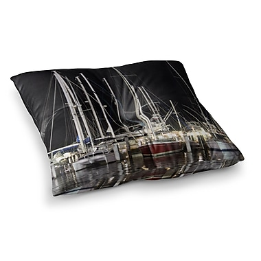 East Urban Home Philip Brown Dinner Key Marina Coastal Square Floor Pillow; 26'' x 26''