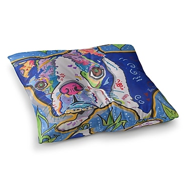 East Urban Home Rebecca Fischer Addy Mae Pug Terrier Square Floor Pillow; 23'' x 23''
