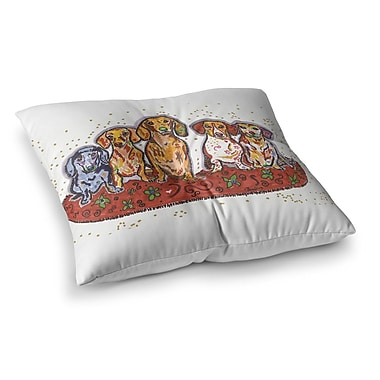 East Urban Home Rebecca Fischer Maksim Murray Enzo Ruby and Willy Daschunds Square Floor Pillow