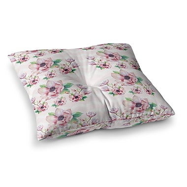 East Urban Home Sylvia Cook Water Magnolias Digital Square Floor Pillow; 23'' x 23''