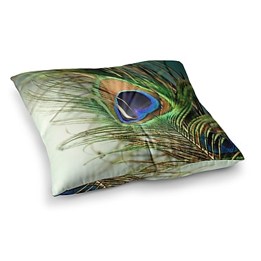 East Urban Home Sylvia Cook Peacock Feather Square Floor Pillow; 23'' x 23''