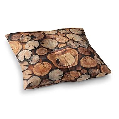 East Urban Home Susan Sanders Rustic Wood Logs Square Floor Pillow; 26'' x 26''