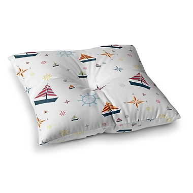 East Urban Home Stephanie Vaeth Sailing Coastal Pattern Square Floor Pillow; 26'' x 26''