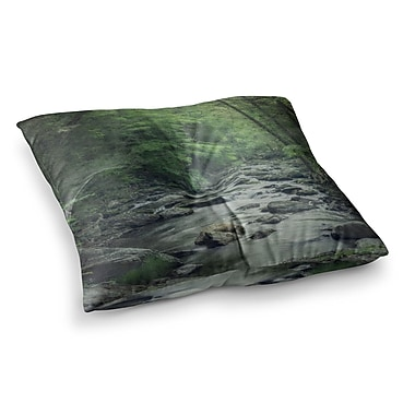 East Urban Home Suzanne Harford Misty Forest Stream Nature Photography Square Floor Pillow