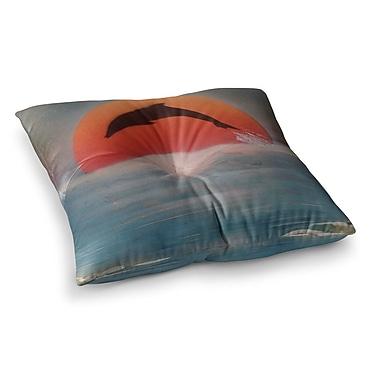 East Urban Home Infinite Spray Art Dolphin Sunset Square Floor Pillow; 26'' x 26''