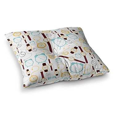 East Urban Home Stephanie Vaeth Clocks Square Floor Pillow; 23'' x 23''