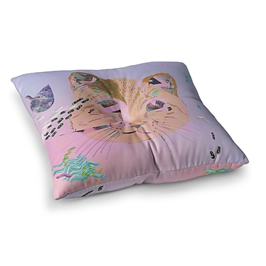 East Urban Home Vasare Nar Psychedelic Cat Square Floor Pillow; 23'' x 23''