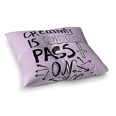 East Urban Home Vasare Nar Creativity Is Contagious Square Floor Pillow; 26'' x 26''
