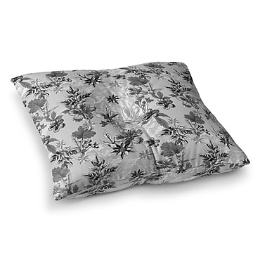East Urban Home Victoria Krupp Engraving Flowers Square Floor Pillow; 23'' x 23''