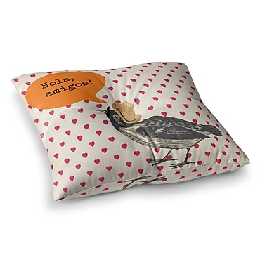 East Urban Home Sreetama Ray Hola Spanish Square Floor Pillow; 23'' x 23''