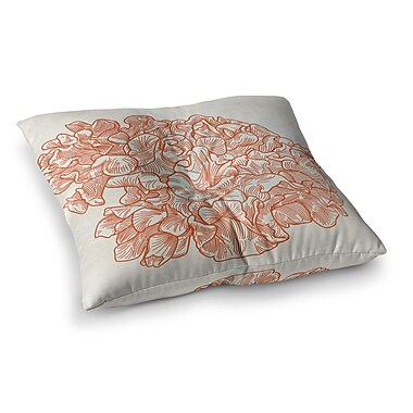 East Urban Home Sam Posnick Lettuce Coral Square Floor Pillow; 26'' x 26''