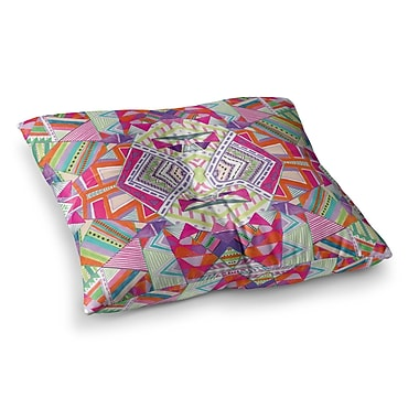 East Urban Home Vasare Nar Neon Cheetah Stripe Balance Mixed Media Square Floor Pillow; 23'' x 23''
