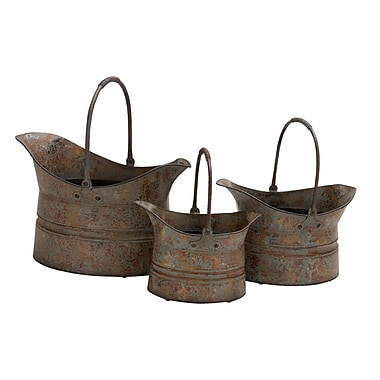 ABCHomeCollection Distressed Bucket 3 Piece Metal Cachepot Set