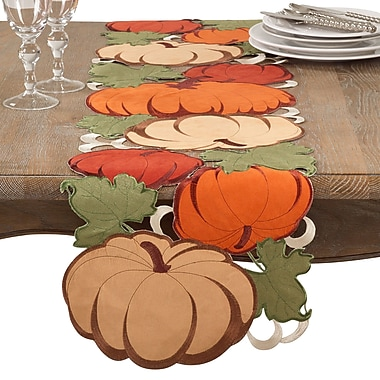 August Grove Moonachie Cutwork Pumpkin Fall Thanksgiving Table Runner