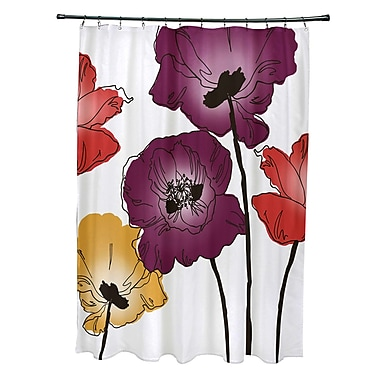 East Urban Home Poppies Floral Print Shower Curtain; Purple