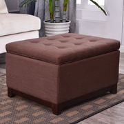 Breakwater Bay Watford Large Storage Upholstered Linen Tufted Ottoman; Espresso Brown