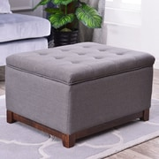 Breakwater Bay Watford Large Storage Upholstered Linen Tufted Ottoman; Charcoal Gray