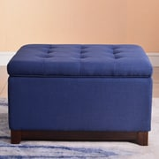Breakwater Bay Watford Large Storage Upholstered Linen Tufted Ottoman; Navy Blue