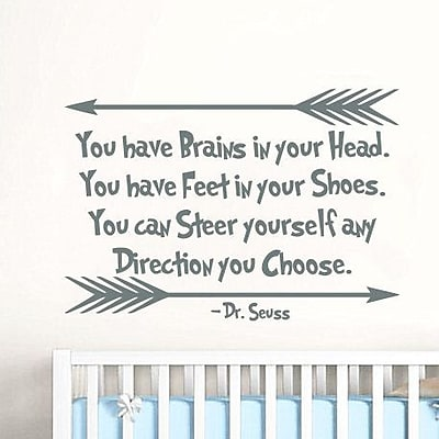 Decal House Dr Seuss Quotes Nursery Wall Decal; Silver Gray