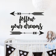 Decal House Follow Your Dreams Quote Arrow Sticker Wall Decal; Gray