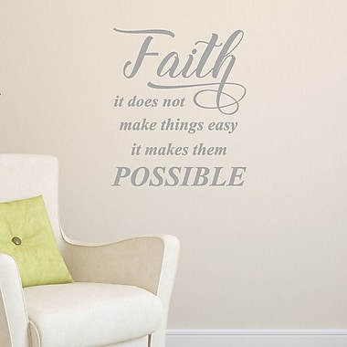 DecaltheWalls Faith, It Does Not, Vinyl Wall Decal; Metallic silver
