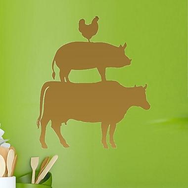 DecaltheWalls Cow, Pig and Chicken Kitchen Vinyl Wall Decal; Metallic Gold