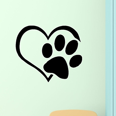 DecaltheWalls Heart w/ Paws Pet Vinyl Wall Decal; Black