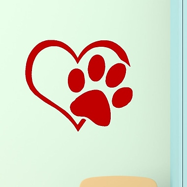 DecaltheWalls Heart w/ Paws Pet Vinyl Wall Decal; Red