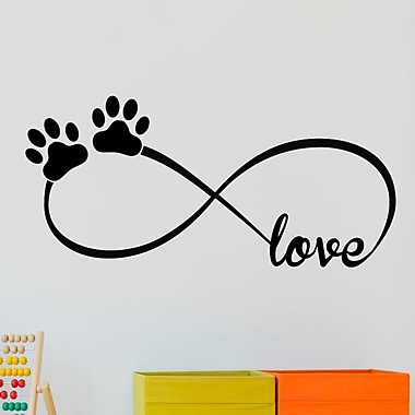 DecaltheWalls Infinity Love Symbol w/ Pet Paws Vinyl Wall Decal; Black