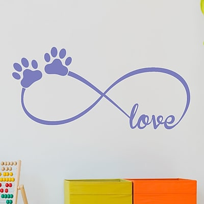 DecaltheWalls Infinity Love Symbol w/ Pet Paws Vinyl Wall Decal; Laverder