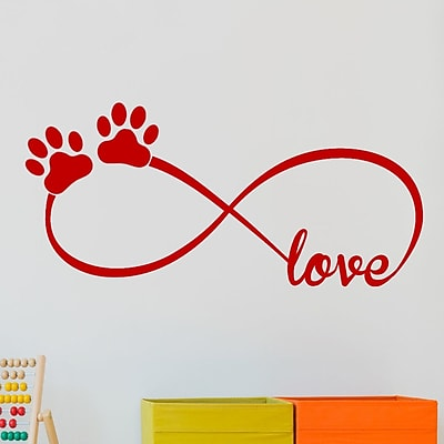 DecaltheWalls Infinity Love Symbol w/ Pet Paws Vinyl Wall Decal; Red