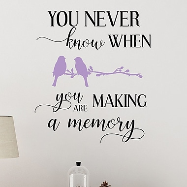 DecaltheWalls You Never Know When You Are Making a Memory Vinyl Wall Decal; Lilac