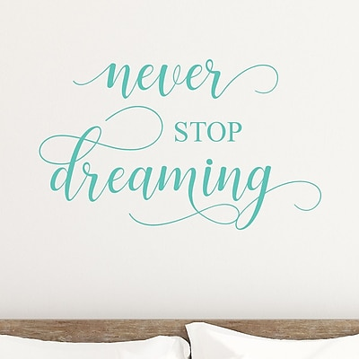 DecaltheWalls Never Stop Dreaming Vinyl Wall Decal; Mint