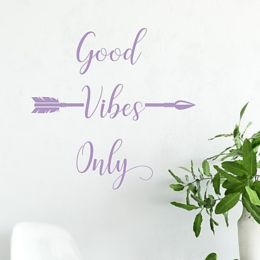 DecaltheWalls Arrow Accent Good Vibes Only Vinyl Wall Decal; Lilac