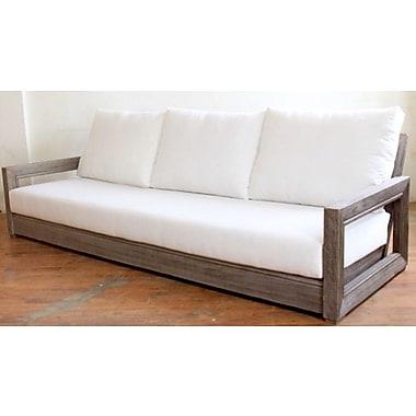 Brayden Studio Constance Teak Outdoor Patio Sofa w/ Cushions; True Blue