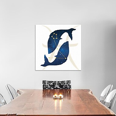 East Urban Home 'Stars of Pisces' Graphic Art on Wrapped Canvas in White and Blue